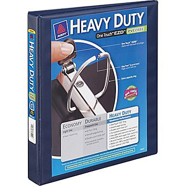 "1"" Avery® Heavy-Duty View Binder with One Touch™ EZD® Rings, Navy Blue"
