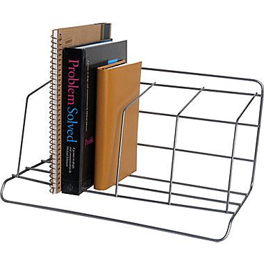 Wire Book Rack, 4 Compartments, Silver