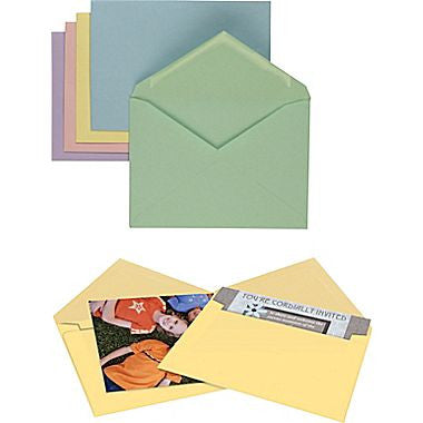 Gummed Assorted Pastels Specialty Envelopes, 50/Box