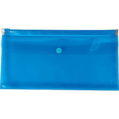 Poly Zip Envelopes with Pocket, Check Size, Blue
