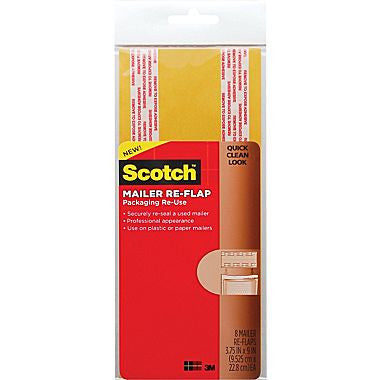 "Scotch™ Mailer Re-Flaps, Manila, 3 3/4""x 9"", Large, 8/Pack"