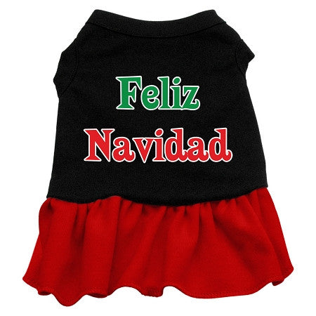 Feliz Navidad Dog Dress - Black with Red/Small