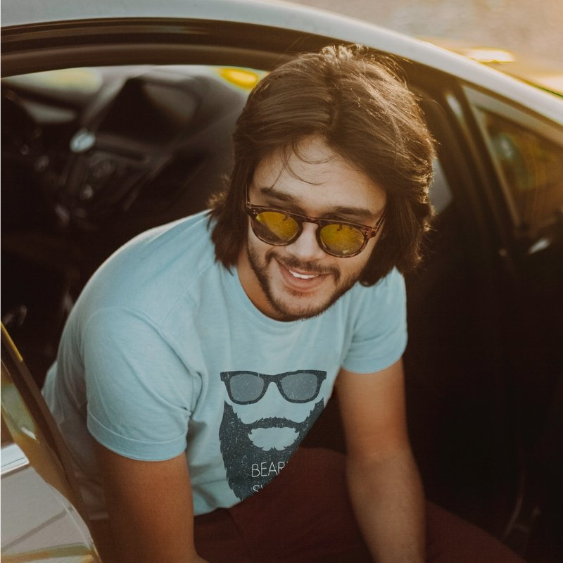 Beard Swag Male Model in Car with T-shirt