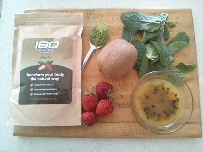 180 nutrition cacao protein shake ingredients with kenko tea