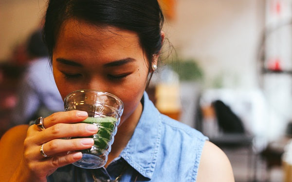 Girl Drinking Matcha Green Tea