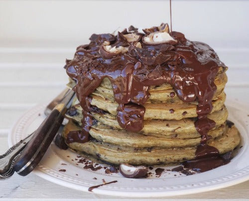 Recipe by Tess Begg - Chocolate chip Matcha Vegan Pancakes are healthy and delicious breakfast