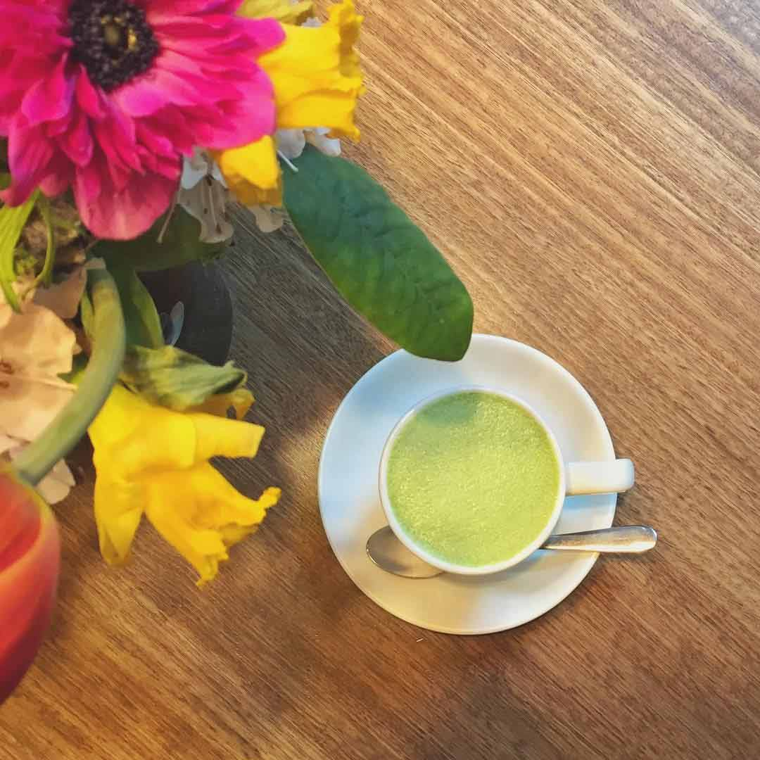 yuzu matcha latte at Operator 25 Cafe Melbourne with Kenko tea