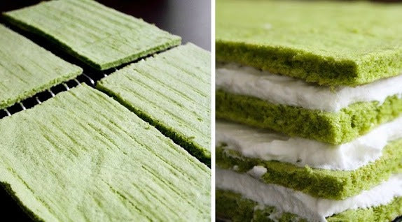 Matcha Almond Genoise Sheet Cakes
