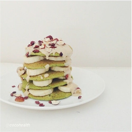 Matcha Green Tea Buckwheat Pancakes Homemade recipe with banana, nuts, tahini and sauce