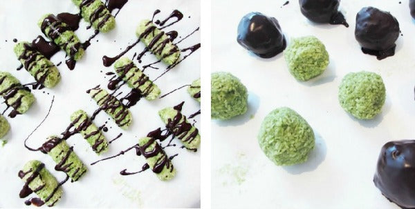 Vegan Raw Matcha Lemon Coconut Truffles Recipe via @sophieshealthykitchen
