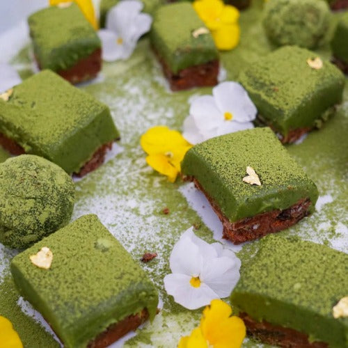 Raw matcha coconut cake slices by Hey There Sugar with Kenko Tea Matcha Powder