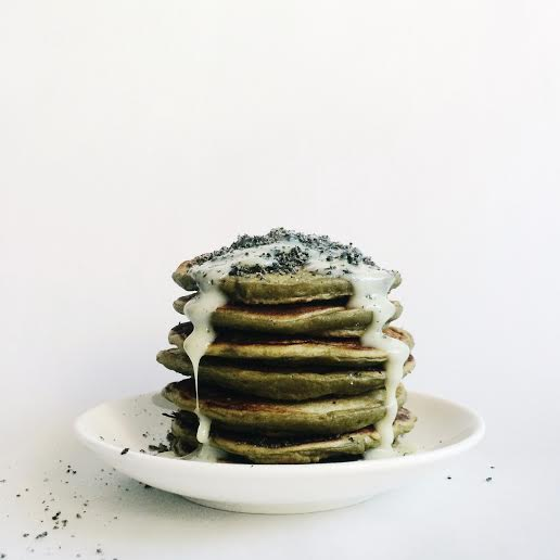 Easy matcha homemade pancakes recipe topped with condensed milk