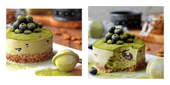 No bake blueberry vegan matcha green tea cheesecake recipe - Lorena Salas @datesandavocados