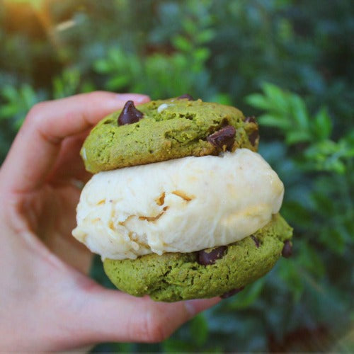ice cream sandwich matcha cookies