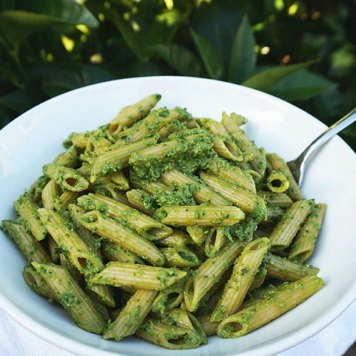 Vegan Matcha Pesto Pasta with pine nuts, walnuts, basil, and spinach. Easy and quick recipe