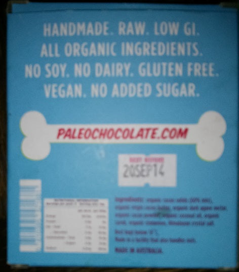 Paleo Chocolate Packaging back