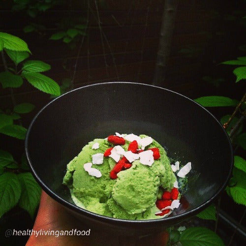Vegan Raw Healthy Homemade Green Tea Ice Cream with Coconuts and Goji Berries