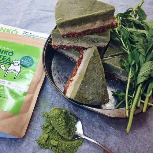 Vegan Raw Vanilla Matcha Green Tea Cake with no sugar, dairy added