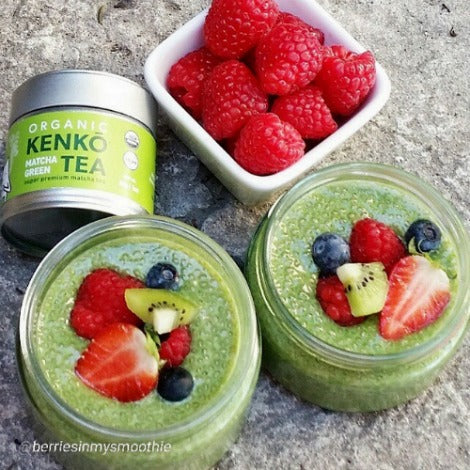 Vegan matcha pudding with chia seeds