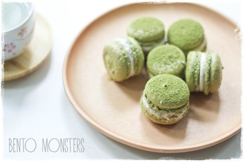 Matcha Green Tea Macarons, filled with red bean buttercream filling. Soft, tasty, and adorable dessert treats