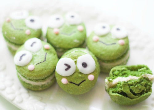 Keroppi themed Matcha Macarons with red bean paste buttercream filling