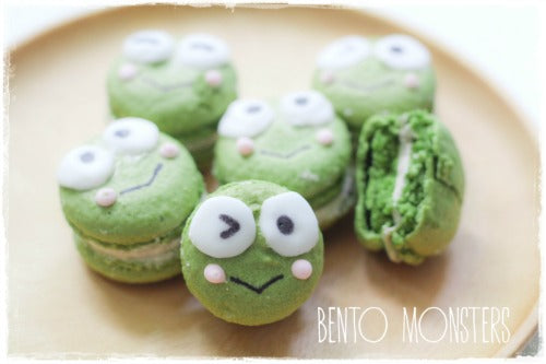 Keroppi Matcha Green Tea Macarons Recipe with red bean buttercream filling and icing decoration