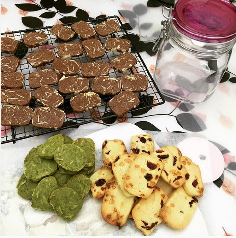 Assorted flavoured Almond Cookies includes white chocolate cranberry almond cookies, matcha green tea almond cookies, and chocolate almond cookies