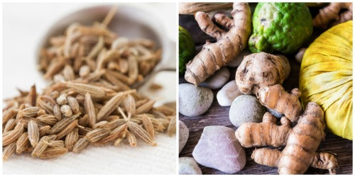 Cumin is from seeds while turmeric is a root that are commonly used in Central Asia and Southeast Asia.