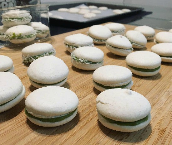 Vegan Matcha Avocado Green Tea Macarons made with matcha green tea and substitute eggs for aqua faba