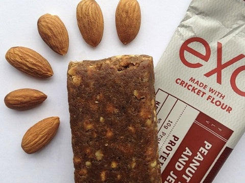 Exo protein bars made from cricket flour, high protein content, pre workout snacks