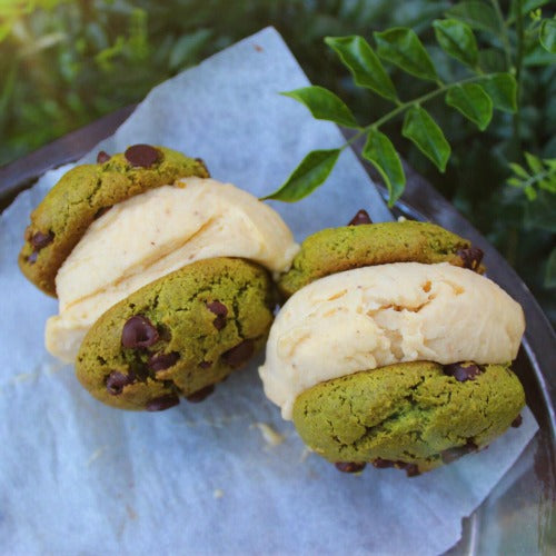 ice cream sandwich with matcha cookies