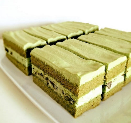 Double Matcha Mousse Cake filled with Adzuki beans. The fluffy matcha sponge cake layers with matcha creamy mousse