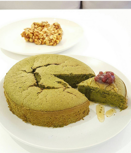Matcha Green Tea Homemade Cake with red bean twisted with honey for topping