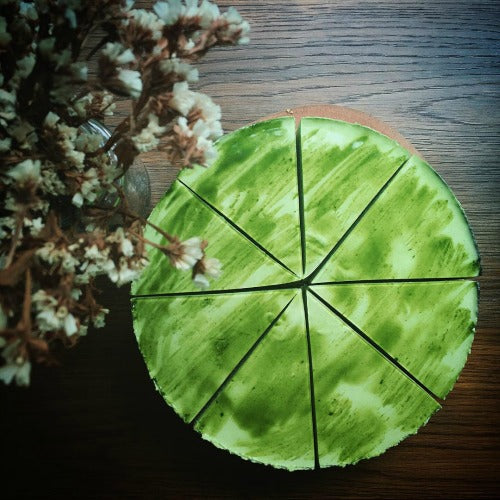 Simple green tea cheesecake with unsweetened yogurt to  make it creamier in a healthy way.
