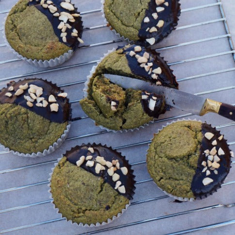 Vegan banana muffins with matcha chocolate and nuts recipe
