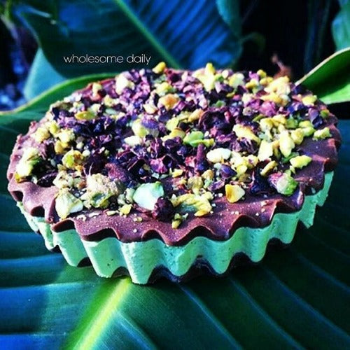 Matcha Chocolate Mint Cups topping with chopped pistachio nuts for the weekend treats