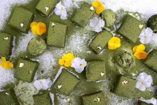 no baked matcha coco cake slices by Hey There Sugar, Australia
