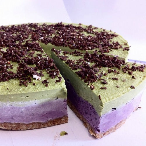 Mixed berry matcha chocolate raw vegan cake with cashew, dates, almonds. sugar free, dairy free