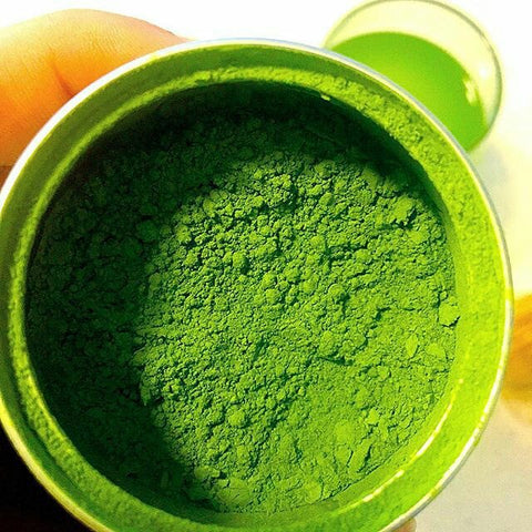 Matcha green tea powder made from young green tea leaves that are grind to fine powder