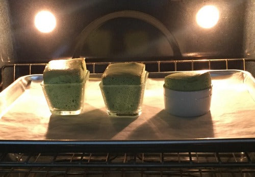classic souffle recipe is twisted with a delightful hint of earthy matcha