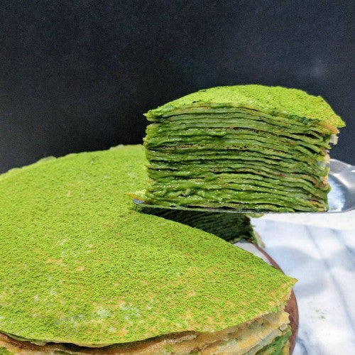 Super thin & soft matcha green tea crepes layered with rich cream creates the great dessert for any occasions