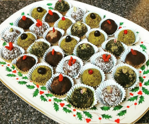 Matcha Vegan Truffle Balls Recipe. No baked, No sugar, No dairy, Raw Clean treats with matcha, cacao, coconut flakes, and ground pistachios