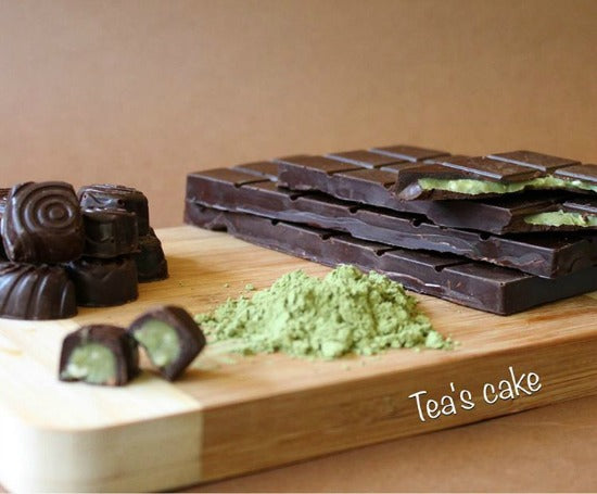 Handmade dark chocolate filled with creamy luscious matcha green tea ganache are perfect for the gift basket