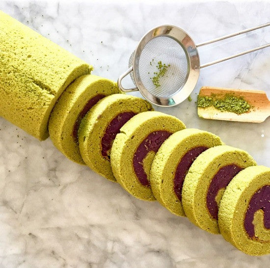 Purple Sweet Potato Filled Matcha Green Tea Swiss Roll is the delightful and beautiful combination of flavors