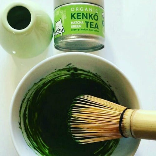 Matcha tea is made by whisking the powder into hot water until foam formed
