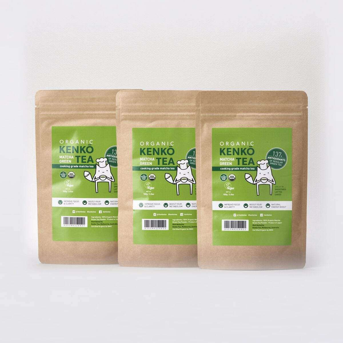 Organic Culinary Grade Matcha Powder - 3 Bags of 100g