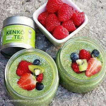 Green tea Chia Pudding made with organic matcha