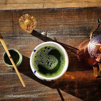 Japanese Matcha tea ceremony with chasen and chasaku