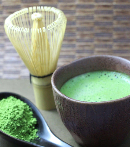 Matcha whisk with tea bowl and spoon