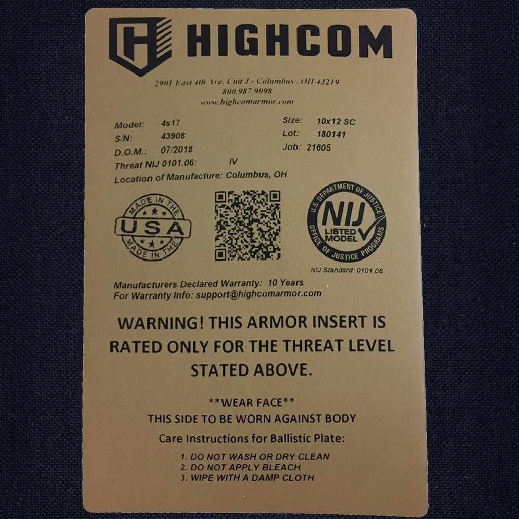 The Guardian 4s17™ hard armor plate with NIJ label